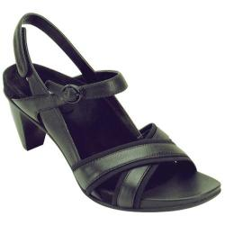 Women's Aetrex Madeline Cross Strap Sandal Black Stretch Fabric