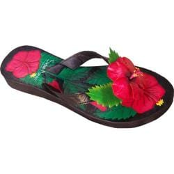 Women's Susan Mango Hibiscus Painted Leather Flip Flop Red/Green/Black