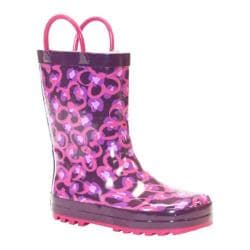 Girls' Western Chief Diva Leopard Rain Boot Purple Leopard