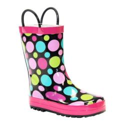 Girls' Western Chief Dot Party Rain Boot Black/Dots