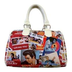 Women's Elvis Presley Signature Product Elvis Presley Collage Satchel Bag EL2322 White