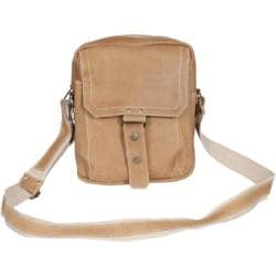 David King Leather 6452 Distressed Shoulder Bag Tan
