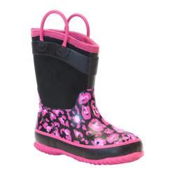Girls' Western Chief New Leopard Neoprene Boot Black