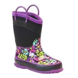 Girls' Western Chief Daisy Shower Neoprene Boot Black