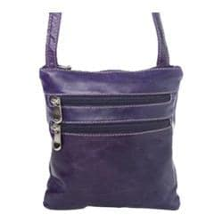 Women's David King Leather 3734 Florentine Cross Body Bag Purple