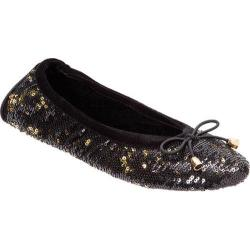 Women's Dearfoams Two-Color Sequin Ballerina Black