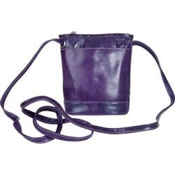 Women's David King Leather 3512 Florentine Top Zip Mini Bag Purple