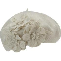 Women's Betmar Flower Beret Whisper White