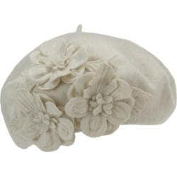 Women's Betmar Flower Beret Whisper White