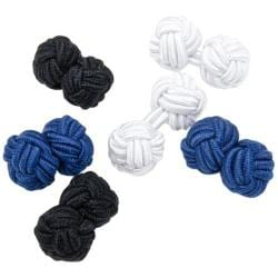 Men's Cufflinks Inc Basic Nautical Silk Knot Cufflinks Blue