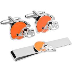 Men's Cufflinks Inc Cleveland Browns Cufflinks and Tie Bar Gift Set Orange