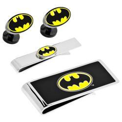 Men's Cufflinks Inc DC Comics Batman Logo 3-Piece Gift Set Yellow