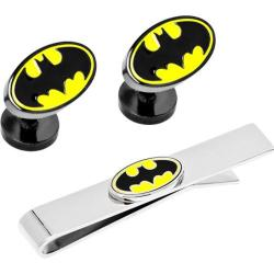 Men's Cufflinks Inc DC Comics Batman Logo Cufflinks Tie Bar Gift Set Yellow