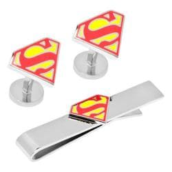 Men's Cufflinks Inc DC Comics Superman Shield Cufflinks/Tie Bar Set Red