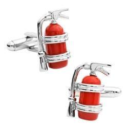 Men's Cufflinks Inc Enamel Fire Extinguisher Cufflinks Silver