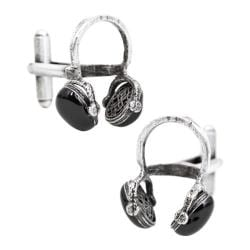 Men's Cufflinks Inc Enamel Headphone Cufflinks Silver