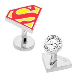 Men's Cufflinks Inc Enamel Superman Shield Cufflinks Red/Silver