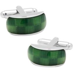 Men's Cufflinks Inc Fiber Optic Checker Bar Cufflinks Green
