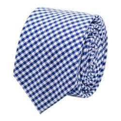 Men's Cufflinks Inc Gingham Cotton Skinny Tie Blue