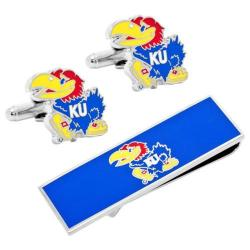 Men's Cufflinks Inc Kansas University Jayhawks Cufflink/Money Clip Set Blue 14536851