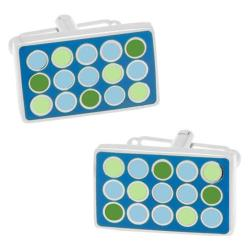Men's Cufflinks Inc Polka Dot Rectangle Cufflinks Blue/Green 14537261