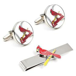 Men's Cufflinks Inc St. Louis Cardinals Cufflinks and Tie Bar Gift Set Red/White