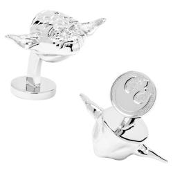 Men's Cufflinks Inc Star Wars Palladium 3-D Yoda Head Cufflinks Silver 14537539