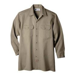 Men's Dickies Long Sleeve Heavyweight Cotton Work Shirt Khaki