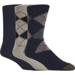 Men's Gold Toe Argyle 2096S (12 Pairs) Multi Pack (Oatmela/Navy/Navy)