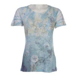 Women's Ojai Clothing Burnout Crewneck Nile Blue Floral