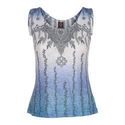 Women's Ojai Clothing Burnout Tank Blue Cornflower Henna