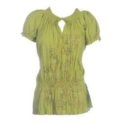 Women's Ojai Clothing Crinkled Peasant Top Sage