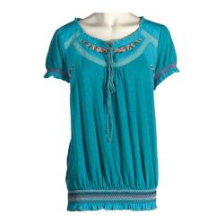 Women's Ojai Clothing Embroidered Peasant Top Turquoise
