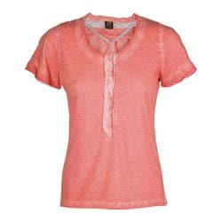 Women's Ojai Clothing Raw Edge Henley Peach Tea