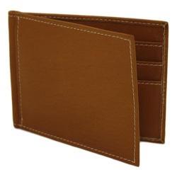 Piel Leather Bi-Fold Money Clip Wallet 2858 Saddle Leather