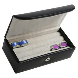 Men's Royce Leather Mini Cufflink Box 944-8 Black Leather