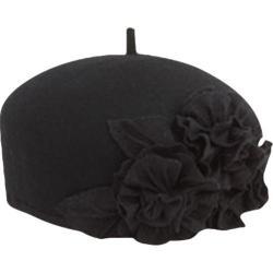 Women's San Diego Hat Company Flower Felt Beret WFB2008 Black