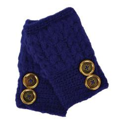 Women's San Diego Hat Company Knit Button Fingerless Gloves KNG3132 Sapphire