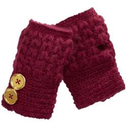 Women's San Diego Hat Company Knit Button Fingerless Gloves KNG3132 Wine