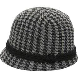 Women's San Diego Hat Company Knot Houndstooth Cloche CTH3632 Black