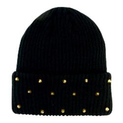 Women's San Diego Hat Company Stud Cable Knit Beanie KNH3306 Black