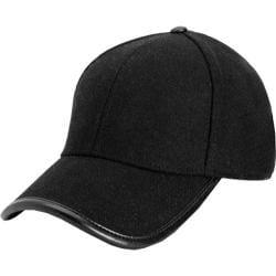 Women's San Diego Hat Company Wool Faux Leather Trim Cap CTH3700 Black