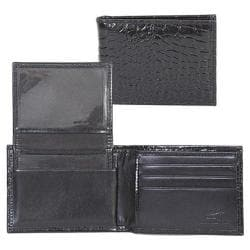 Men's Scully Leather Slim Billfold w/Removable Case Croco 2005R Black