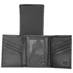 Men's Scully Leather Tri-Fold Wallet w/ID Buttercalf 2000W Black
