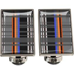 Men's Wurkin Stiffs Rectangle Cufflinks Multi Plaid Orange