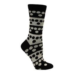 Women's Ozone Big Dots Crew Sock (2 Pairs) Black