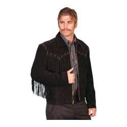 Men's Scully Leather Boar Suede Fringe Jacket 221 Black Boar Suede