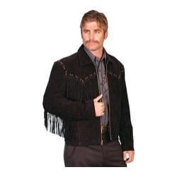Men's Scully Leather Boar Suede Fringe Jacket 221 Black Boar Suede