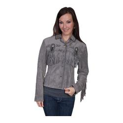 Women's Scully Leather Boar Suede Jacket L152 Grey Boar Suede