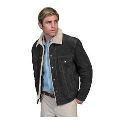 Men's Scully Leather Boar Suede Jean Jacket 113 Black Boar Suede